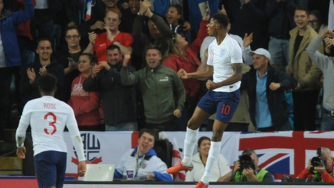 <p>               England's Marcus Rashford celebrates after scoring his side's first goal during the International friendly soccer match between England and Switzerland at the King Power Stadium in Leicester, England, Tuesday, Sept. 11, 2018 . (AP Photo/ Rui Vieira)             </p>