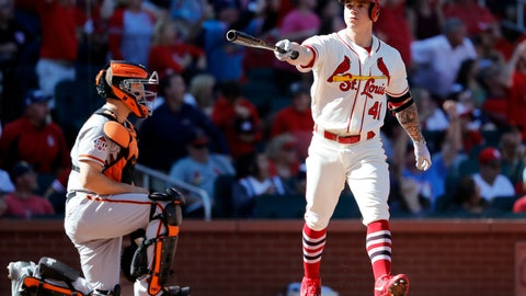 <p>               St. Louis Cardinals' Tyler O'Neill, right, celebrates after hitting a walk-off home to defeat the San Francisco Giants 5-4 as catcher Nick Hundley kneels at the plate in the 10th inning of a baseball game Saturday, Sept. 22, 2018, in St. Louis. (AP Photo/Jeff Roberson)             </p>