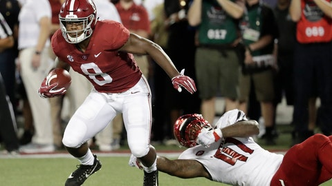 <p>               FILE - In this Sept. 1, 2018, file photo, Alabama running back Josh Jacobs (8) slips past Louisville defensive lineman Michael Boykin (41) for a gain during the first half of an NCAA college football game, in Orlando, Fla. Add Jaylen Waddle and Josh Jacobs to the list of No. 1 Alabama's dynamic playmakers. Both made big plays on offense and special teams in the opener. (AP Photo/John Raoux, File)             </p>