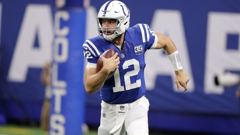 <p>               FILE - In this Aug. 25, 2018, file photo, Indianapolis Colts quarterback Andrew Luck (12) runs during the first half of an NFL preseason football game against the San Francisco 49ers, in Indianapolis. Now, just a few days away from lining up against Cincinnati's sack-happy defense, Luck looks and sounds like the confident leader his teammates expect.  (AP Photo/Michael Conroy, File)             </p>