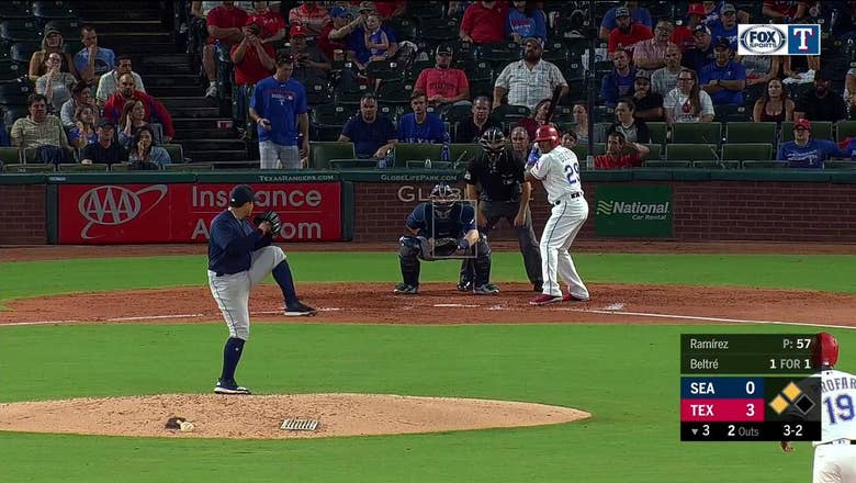 HIGHLIGHTS: Adrian Beltre makes it 5-0 with a single to right in the 3rd   Mariners at Rangers