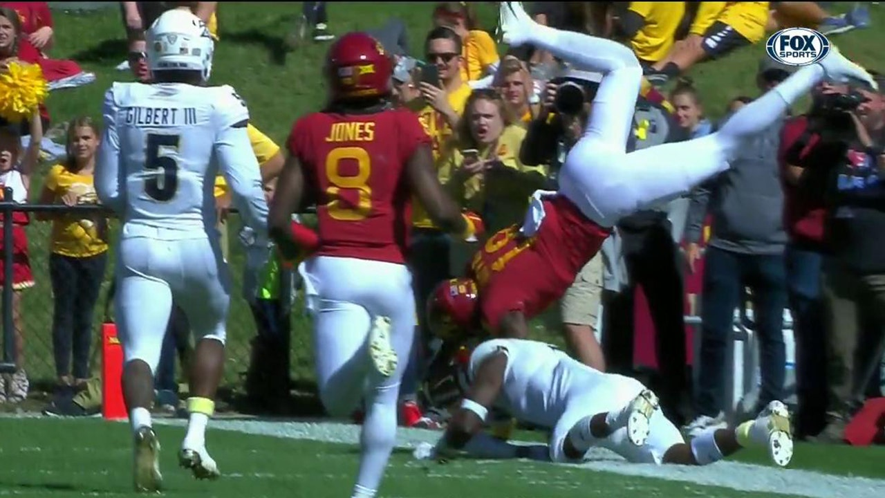 bda92b01 Iowa State scores a must-watch, head-over-heels TD that barely gets inside  the pylon