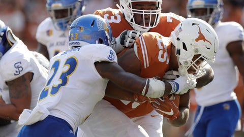 <p>               FILE - In this Sept. 9, 2017, file photo, Texas running back Chris Warren III (25) scores a touchdown past San Jose State safety Trevon Bierria (23) with the help of teammate Patrick Hudson (73) during the second half of an NCAA college football game  in Austin, Texas. Hudson was taken to a hospital and treated in intensive care this week because of a heat-related illness at practice, coach Tom Herman said Thursday, Sept. 6, 2018. (AP Photo/Eric Gay, File)             </p>