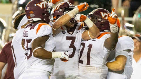 <p>               Virginia Tech defensive back Caleb Farley (3) celebrates an interception against Florida State in the first half of an NCAA college football game in Tallahassee, Fla., Monday, Sept. 3, 2018. (AP Photo/Mark Wallheiser)             </p>