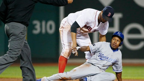<p>               FILE - In this July 29, 2017, file photo, Boston Red Sox's Xander Bogaerts catches Kansas City Royals' Terrance Gore trying to steal second base during the ninth inning of a baseball game in Boston. Gore has resurfaced with the Chicago Cubs, who purchased his contract from Triple-A Iowa when rosters expanded Sept. 1. Like the Royals previously, the Cubs will have a chance to turn Gore loose on the bases. The 27-year-old outfielder has played in 50 games in his major league career. He has 11 at-bats, zero hits, 14 runs and 21 stolen bases. (AP Photo/Michael Dwyer, File)             </p>
