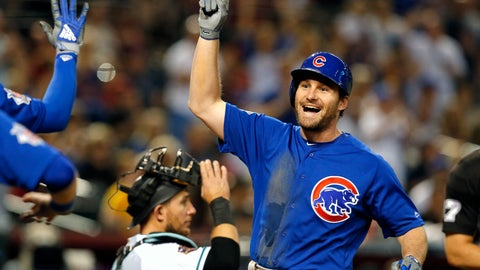 <p>               Chicago Cubs' Daniel Murphy celebrates after hitting a two-run home run against the Arizona Diamondbacks in the second inning during a baseball game, Tuesday, Sept. 18, 2018, in Phoenix. (AP Photo/Rick Scuteri)             </p>