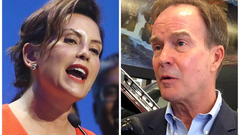 <p>               FILE - This combination of file photos shows Michigan gubernatorial candidates in the November election from left, Democrat Gretchen Whitmer and her Republican challenger Bill Schuette. Whitmer on Friday, Sept. 21, 2018, denied Republicans' allegation that as Ingham County's interim prosecutor two years ago, she refused to prosecute disgraced former sports doctor Larry Nassar for sexual assaults before the charges were brought by Michigan Attorney General Schuette, her GOP opponent in this year's race for governor. (AP Photo/File)             </p>