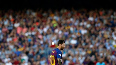 <p>               Barcelona forward Lionel Messi prepares to take a free kick during the group B Champions League soccer match between FC Barcelona and PSV Eindhoven at the Camp Nou stadium in Barcelona, Spain, Tuesday, Sept. 18, 2018. (AP Photo/Manu Fernandez)             </p>