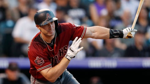 <p>               Arizona Diamondbacks' Paul Goldschmidt follows the flight of his double off Colorado Rockies starting pitcher Jon Gray in the second inning of a baseball game Wednesday, Sept. 12, 2018, in Denver. (AP Photo/David Zalubowski)             </p>
