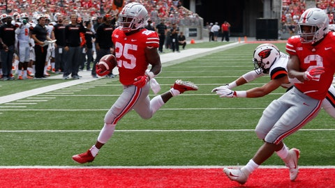 <p>               Ohio State running back Mike Weber, left, scores a touchdown against Oregon State during the first half of an NCAA college football game Saturday, Sept. 1, 2018, in Columbus, Ohio. (AP Photo/Jay LaPrete)             </p>