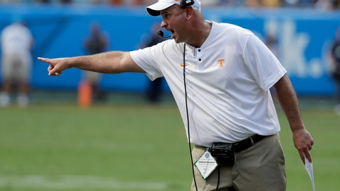 <p>               FILE - In this Sept. 1, 2018, file photo, Tennessee head coach Jeremy Pruitt directs his team against West Virginia in an NCAA college football game in Charlotte, N.C. Tennessee's home opener with East Tennessee State matches two first-year coaches and former colleagues against each other. Tennessee's Jeremy Pruitt was a defensive coordinator and ETSU's Randy Sanders was quarterbacks coach on Florida State's 2013 national championship team. (AP Photo/Chuck Burton, File)             </p>