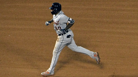 <p>               Detroit Tigers' Ronny Rodriguez (60) runs the bases after hitting a two-run home run against the Chicago White Sox during the fourth inning of a baseball game, Wednesday, Sept. 5, 2018, in Chicago. (AP Photo/David Banks)             </p>