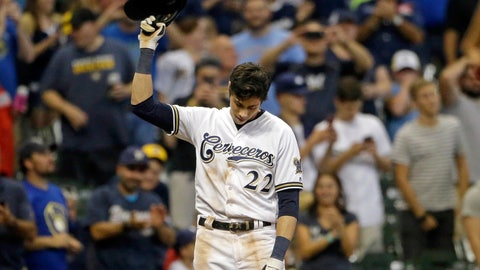 <p>               Milwaukee Brewers' Christian Yelich reacts after receiving a standing ovation from the crowd after hitting a triple to complete the cycle during the sixth inning of a baseball game against the Cincinnati Reds, Monday, Sept. 17, 2018, in Milwaukee. (AP Photo/Aaron Gash)             </p>