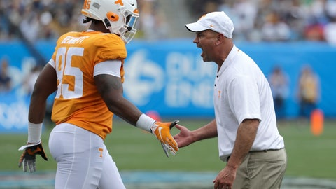 <p>               Tennessee head coach Jeremy Pruitt, right, greets Kivon Bennett (95) before an NCAA college football game against West Virginia in Charlotte, N.C., Saturday, Sept. 1, 2018. Tennessee believes it can play much better than it showed in a 40-14 season-opening loss to West Virginia. The Volunteers are hoping the lessons learned in that humbling defeat to open Jeremy Pruitt's coaching tenure can pay dividends the rest of the season. (AP Photo/Chuck Burton)             </p>