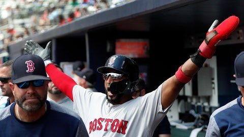 <p>               Boston Red Sox third baseman Eduardo Nunez (36) reacts after scoring on an Ian Kinsler double in the fifth inning of baseball game against then Atlanta Braves Monday, Sept. 3, 2018, in Atlanta. (AP Photo/John Bazemore)             </p>