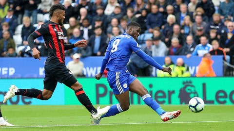 <p>               Leicester City's Kelechi Iheanacho, right, scores his side's first goal of the game against Huddersfield Town during their English Premier League soccer match at the King Power Stadium in Leicester, England, Saturday Sept. 22, 2018. (Nigel French/PA via AP)             </p>