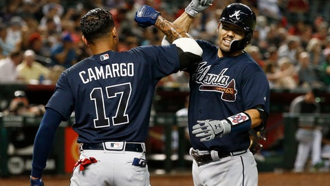 <p>               Atlanta Braves' Kurt Suzuki, right, celebrates his two-run home run against the Arizona Diamondbacks with Johan Camargo (17) during the fourth inning of a baseball game Thursday, Sept. 6, 2018, in Phoenix. (AP Photo/Ross D. Franklin)             </p>