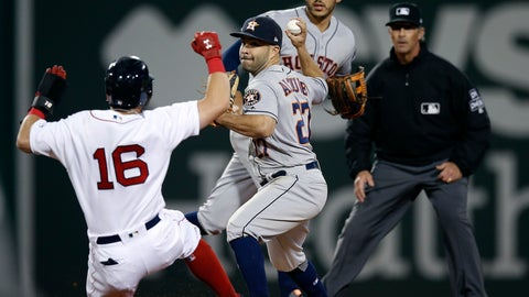 <p>               Boston Red Sox's Andrew Benintendi (16) is forced out at second base as Houston Astros' Jose Altuve (27) turns the double play on J.D. Martinez during the ninth inning of a baseball game in Boston, Saturday, Sept. 8, 2018. (AP Photo/Michael Dwyer)             </p>