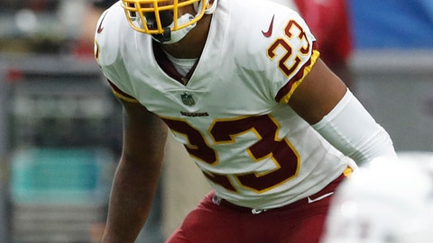 <p>               FILE - In this Sept. 9, 2018, file photo, Washington Redskins cornerback Quinton Dunbar waits for the play to start during an NFL football game against the Arizona Cardinals, in Glendale, Ariz. Dunbar has already intercepted Carson Wentz, Eli Manning and Bradford in his career. His next challenge is Andrew Luck and the Indianapolis Colts. (AP Photo/Rick Scuteri, File)             </p>