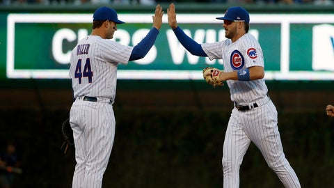 <p>               Chicago Cubs' Anthony Rizzo, left, celebrates with teammate Kris Bryant, right, after beating the Cincinnati Reds in a baseball game in Chicago, on Saturday, Sept. 15, 2018. The Cubs won the game 1-0. (AP Photo/Jeff Haynes)             </p>