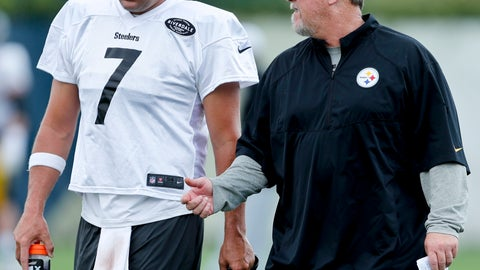 <p>               In this photo from Sept. 5, 2018, Pittsburgh Steelers offensive coordinator Randi Fichtner, right, talks with quarterback Ben Roethlisberger (7) during an NFL football practice in Pittsburgh. Fichtner is ready to be second-guessed. Good thing, because it's coming. The teams new offensive coordinator is ready to put his own unique imprint on one of the league's most potent attacks, with or without running back Le'Veon Bell. (AP Photo/Keith Srakocic)             </p>