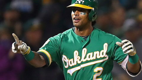 <p>               Oakland Athletics' Khris Davis celebrates after hitting a walk-off home run in the 10th inning of a baseball game against the Minnesota Twins on Friday, Sept. 21, 2018, in Oakland, Calif. (AP Photo/Ben Margot)             </p>
