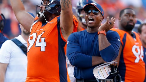 <p>               Denver Broncos defensive tackle Domata Sr. Peko (94) and head coach Vance Joseph react to a call during the second half of an NFL football game against the Oakland Raiders, Sunday, Sept. 16, 2018, in Denver. (AP Photo/Jack Dempsey)             </p>