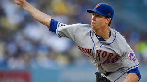 <p>               New York Mets starting pitcher Jacob deGrom delivers to Los Angeles Dodgers' Justin Turner during the first inning of a baseball game in Los Angeles, Monday, Sept. 3, 2018. (AP Photo/Kelvin Kuo)             </p>