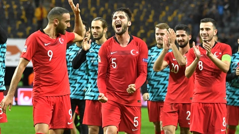 <p>               Turkey's players celebrate their victory after the UEFA Nations League soccer match between Sweden and Turkey at Friends Arena in Solna, Stockholm, Monday, Sept. 10, 2018. (Jonas Ekstromer/TT News Agency via AP)             </p>