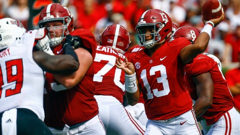 <p>               Alabama quarterback Tua Tagovailoa (13) throws a pass during the first half of an NCAA college football game against Arkansas State, Saturday, Sept. 8, 2018, in Tuscaloosa, Ala. (AP Photo/Butch Dill)             </p>