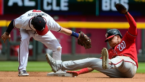 <p>               Washington Nationals' Juan Soto, right, steals second base as Atlanta Braves shortstop Dansby Swanson, left, tries to tag him during the fourth inning of a baseball game Saturday, Sept. 15, 2018, in Atlanta. (AP Photo/John Amis)             </p>