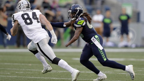 <p>               Seattle Seahawks linebacker Shaquem Griffin (49) pursues Oakland Raiders tight end Paul Butler (84) during the first half of an NFL football preseason game, Thursday, Aug. 30, 2018, in Seattle. (AP Photo/Stephen Brashear)             </p>