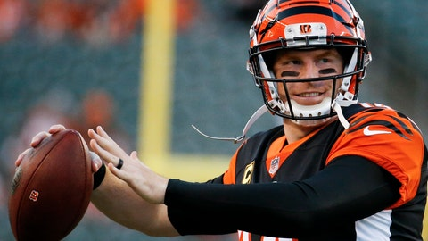 <p>               FILE - In this Thursday, Sept. 13, 2018 file photo, Cincinnati Bengals quarterback Andy Dalton throws during practice before an NFL football game against the Baltimore Ravens in Cincinnati. Cincinnati has put up 34 points in back-to-back games to open the season, although quarterback Andy Dalton said they haven't played a perfect game. (AP Photo/Frank Victores, File)             </p>