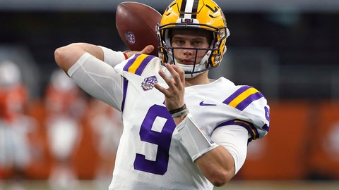 "<p>               FILE - In this Sept. 2, 2018, file photo, LSU quarterback Joe Burrow (9) throws during warmups before playing Miami in an NCAA college football game, in Arlington, Texas. Burrow was not inclined to downplay inefficiencies in the passing game that, fortunately for the Tigers, were otherwise inconsequential in a lopsided, season-opening victory. ""I made some bad throws. There were some drops,"" Burrow said this week after reviewing a 33-17 rout of Miami that shot LSU up the AP Poll from 25th to 11th. LSU plays Southeastern Louisiana on Saturday night. (AP Photo/Ron Jenkins, File)             </p>"