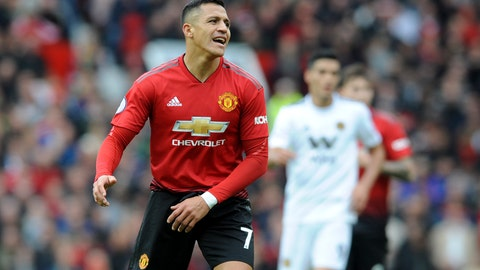 <p>               Manchester United's Alexis Sanchez reacts during the English Premier League soccer match between Manchester United and Wolverhampton Wanderers at Old Trafford stadium in Manchester, England, Saturday, Sept. 22, 2018. (AP Photo/Rui Vieira)             </p>