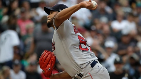 <p>               Boston Red Sox starting pitcher Eduardo Rodriguez throws to a Chicago White Sox batter during the first inning of a baseball game Saturday, Sept. 1, 2018, in Chicago. (AP Photo/Nam Y. Huh)             </p>