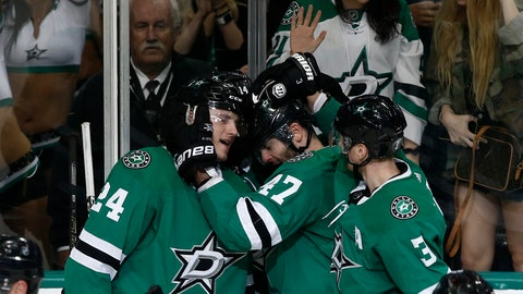 <p>               From left, Dallas Stars wing Roope Hintz, wing Jamie Benn, wing Alexander Radulov and defenseman John Klingberg celebrate Benn's goal against the Minnesota Wild during the third period of a preseason NHL hockey game, Monday, Sept. 24, 2018, in Dallas. (AP Photo/Mike Stone)             </p>