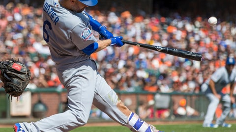<p>               Los Angeles Dodgers Brian Dozier hits a two-run homer against the San Francisco Giants in the third inning of a baseball game in San Francisco, Sunday, Sept. 30, 2018. (AP Photo/John Hefti)             </p>