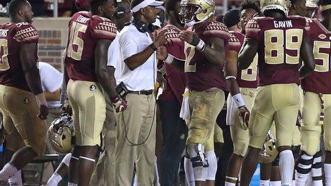 <p>               Florida State coach Willie Taggart, center, talks with quarterback Deondre Francois during the fourth quarter of an NCAA college football game against Samford, Saturday, Sept. 8, 2018, in Tallahassee Fla. Florida State won 36-26. (AP Photo/Steve Cannon)             </p>