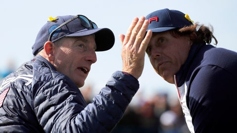 <p>               US team captain Jim Furyk gestures while speaking with his player Phil Mickelson during a fourball match on the second day of the 2018 Ryder Cup at Le Golf National in Saint Quentin-en-Yvelines, outside Paris, France, Saturday, Sept. 29, 2018. (AP Photo/Francois Mori)             </p>