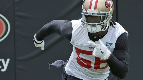 <p>               FILE - In this May 30, 2018, file photo, San Francisco 49ers linebacker Reuben Foster runs during a practice at the team's NFL football training facility in Santa Clara, Calif. San Francisco figures to get a big boost on defense from Foster, who returns this week after he was suspended for the first two games of the season for violating the league's substance abuse and personal conduct policy. (AP Photo/Jeff Chiu, File)             </p>
