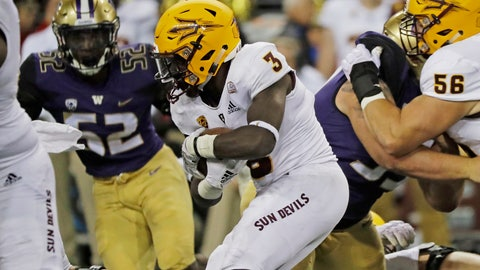 <p>               Arizona State running back Eno Benjamin (3) rushes against Washington during the first half of an NCAA college football game, Saturday, Sept. 22, 2018, in Seattle. (AP Photo/Ted S. Warren)             </p>