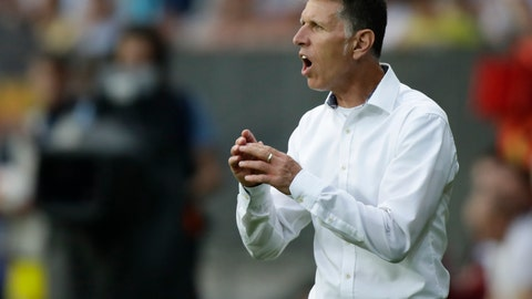<p>               FILE -- In this picture taken on Wednesday, Aug. 2, 2017 Slavia Prague's head coach Jaroslav Silhavy gestures during the Champions League third qualifying round, 2nd leg soccer match between BATE Borisov and Slavia Prague at the Borisov-Arena stadium, in Borisov, Belarus. Jaroslav Silhavy has been named the new coach of the Czech Republic national soccer team on Tuesday, Sept. 18, 2018. (AP Photo/Sergei Grits, file)             </p>
