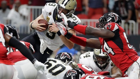 <p>               New Orleans Saints quarterback Drew Brees (9) leaps over the goal line for a touchdown against the Atlanta Falcons during overtime of an NFL football game, Sunday, Sept. 23, 2018, in Atlanta. The New Orleans Saints won 43-37. (AP Photo/Mark Humphrey)             </p>