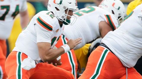 <p>               Miami quarterback Malik Rosier (12) carries for a touchdown behind his blockers during the first quarter of an NCAA college football game against Toledo Saturday, Sept. 15, 2018, in Toledo, Ohio. (AP Photo/Duane Burleson)             </p>