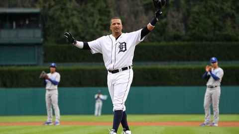 <p>               Detroit Tigers designated hitter Victor Martinez acknowledges the fans after his single against the Kansas City Royals during the first inning of a baseball game Saturday, Sept. 22, 2018, in Detroit. Martinez, playing in his final game, was taken out of the lineup after the single. (AP Photo/Carlos Osorio)             </p>