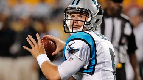 <p>               Carolina Panthers quarterback Taylor Heinicke looks for wide receiver Mose Frazier in the end zone, before throwing for a touchdown during the first half of a preseason NFL football game against the Pittsburgh Steelers in Pittsburgh, Thursday, Aug. 30, 2018. (AP Photo/Keith Srakocic)             </p>