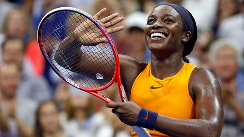 <p>               Sloane Stephens, of the United States, smiles after defeating Elise Mertens, of Belgium, during the fourth round of the U.S. Open tennis tournament Sunday, Sept. 2, 2018, in New York. (AP Photo/Adam Hunger)             </p>