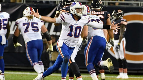<p>               Buffalo Bills quarterback AJ McCarron (10) celebrates a game-winning touchdown throw against the Chicago Bears during the second half of an NFL preseason football game in Chicago, Thursday, Aug. 30, 2018. (AP Photo/David Banks)             </p>