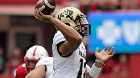 <p>               Colorado quarterback Steven Montez (12) throws a pass during the first half of an NCAA college football game against Nebraska in Lincoln, Neb., Saturday, Sept. 8, 2018. (AP Photo/Nati Harnik)             </p>
